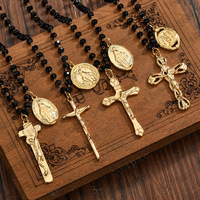 Religion Jewelry Black Glass Beads Stainless Steel Gold Virgin Mary Charm Rosary Necklace Jesus Cross Necklace