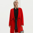 Fashion Wholesale Young Ladies Red Wool Coat Winter Long Handmade Women Cashmere Wool Coats
