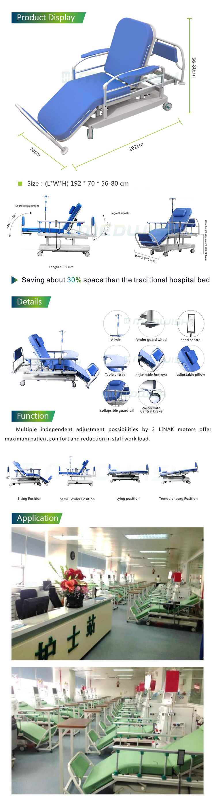 China supplier wholesale hospital medical equip patient dialysis treatment bed blood collection electric medical dialysis chair