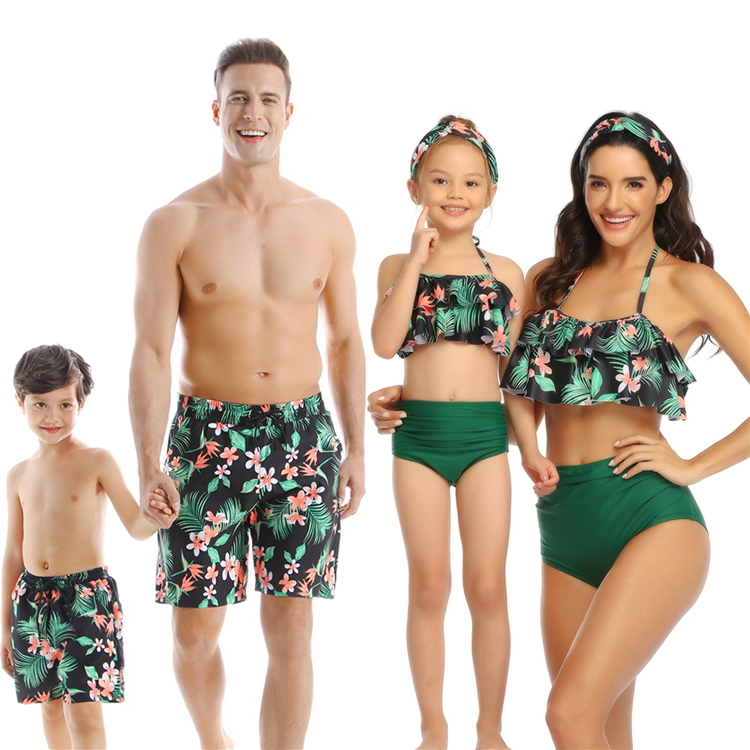 family couples matching mommy and son daughter swimwear swimsuits swim suits bikini set for family