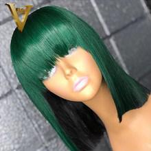 Блонд розовый боб парик с челкой 99J цветные кружевные передние человеческие волосы парики для женщин бразильские Remy 13x4 прозрачные кружевны...(Китай)