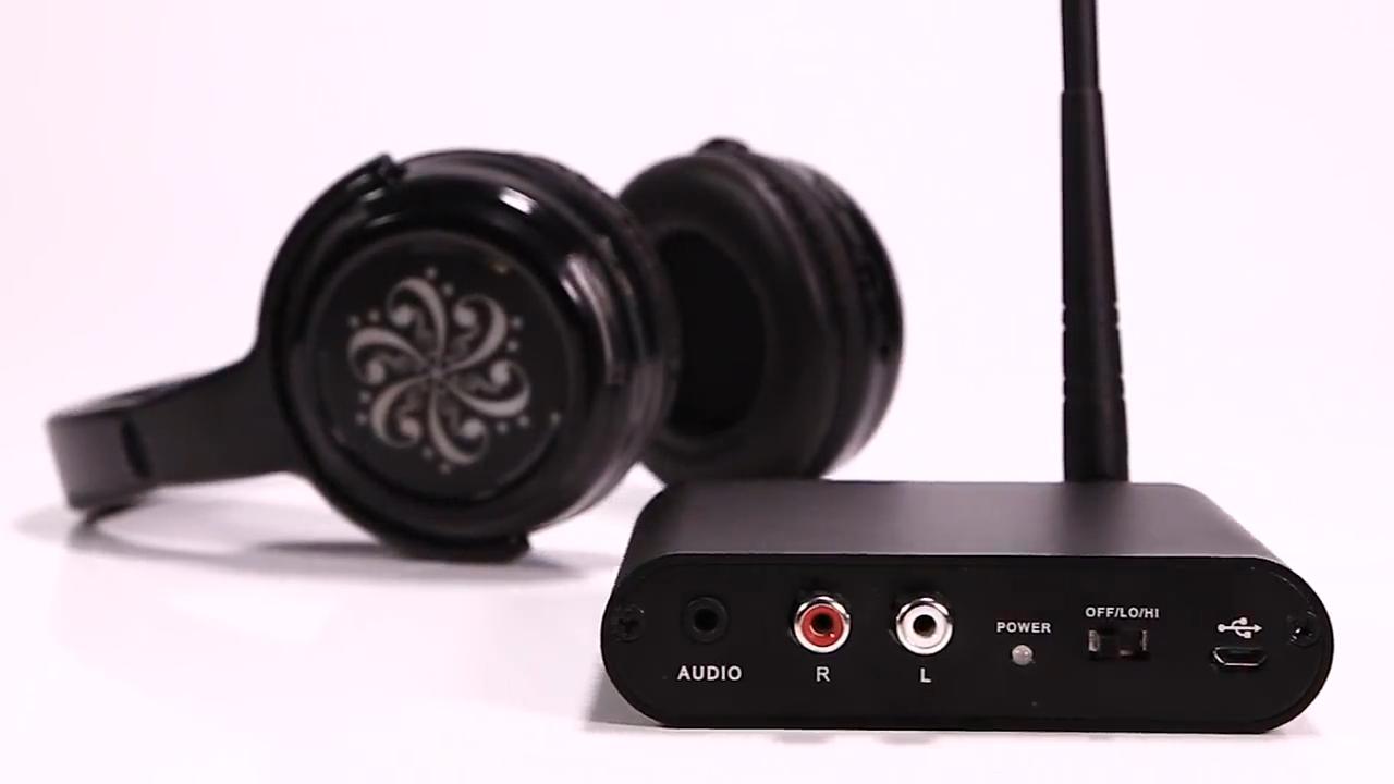 Pasokan langsung Dari Silent Disco Headphone Sistem Tiga Saluran Pesta Headphone Dan UHF pemancar Untuk Silent Pesta
