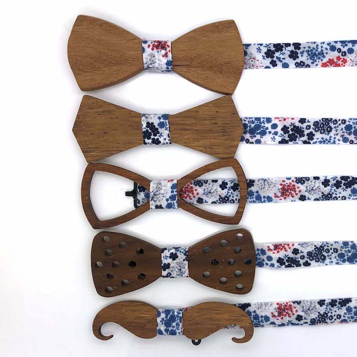 Plain design wood printed bow tie and cufflinks set