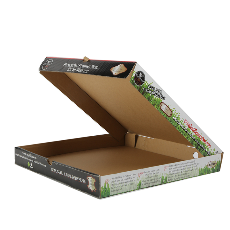 Custom recycle green pattern OEM pizza paper packaging cardboard food boxes food safe wholesale corrugated pizza boxes packaging