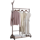 Coat Vertical Honey Color Double Layer Movable Clothes Hanger Rack Free Standing Coat Rack Vertical Clothes Hanger