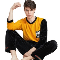wholesale custom loungewear Velour sleeping wear funny winter pajamas men