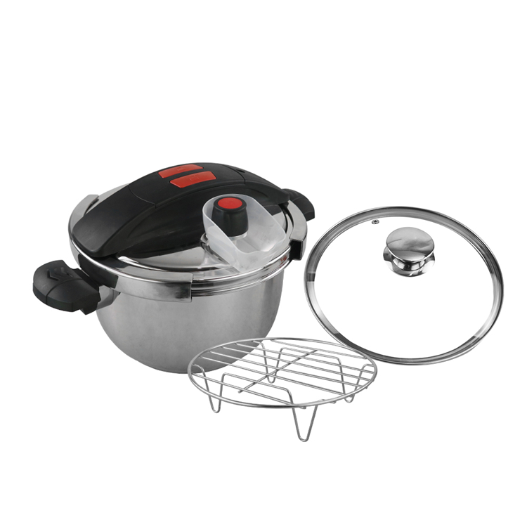 High quality cheap wholesale home restaurant pressure cooker stainless steel with glass lid and rack
