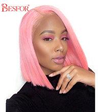 BESFOR U Part парик, человеческие волосы, цветные, красные, розовые, желтые, Короткие парики для Боба, предварительно выщипанные, без клея, прямые, ...(Китай)