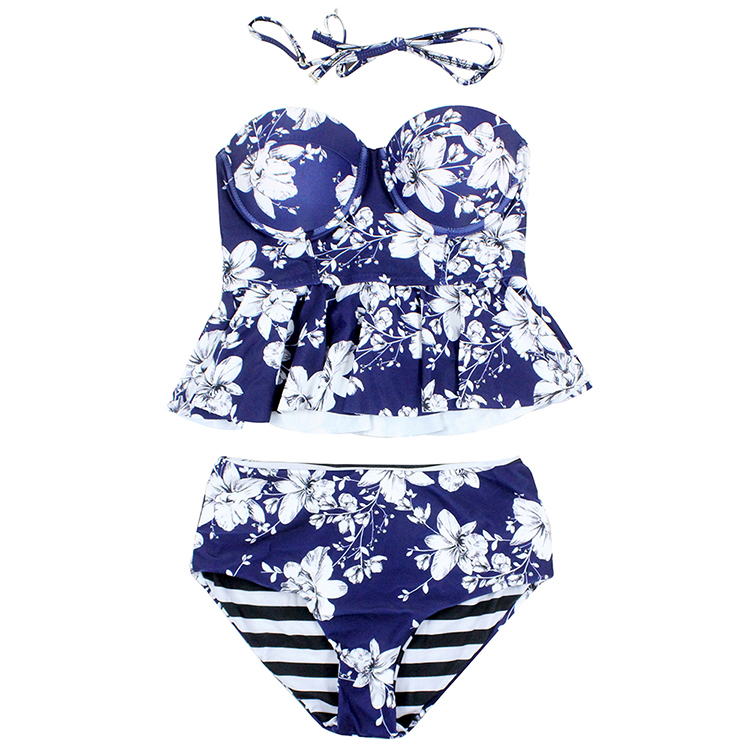 Women Swimsuit New High Waist Bikinis <strong>Plus</strong> <strong>Size</strong> Floral Underwire Girls <strong>Swimwear</strong>