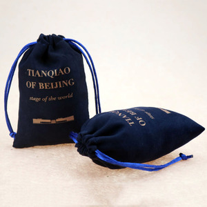 Blue printed logo drawstring velvet jewelry bags pouch for ring