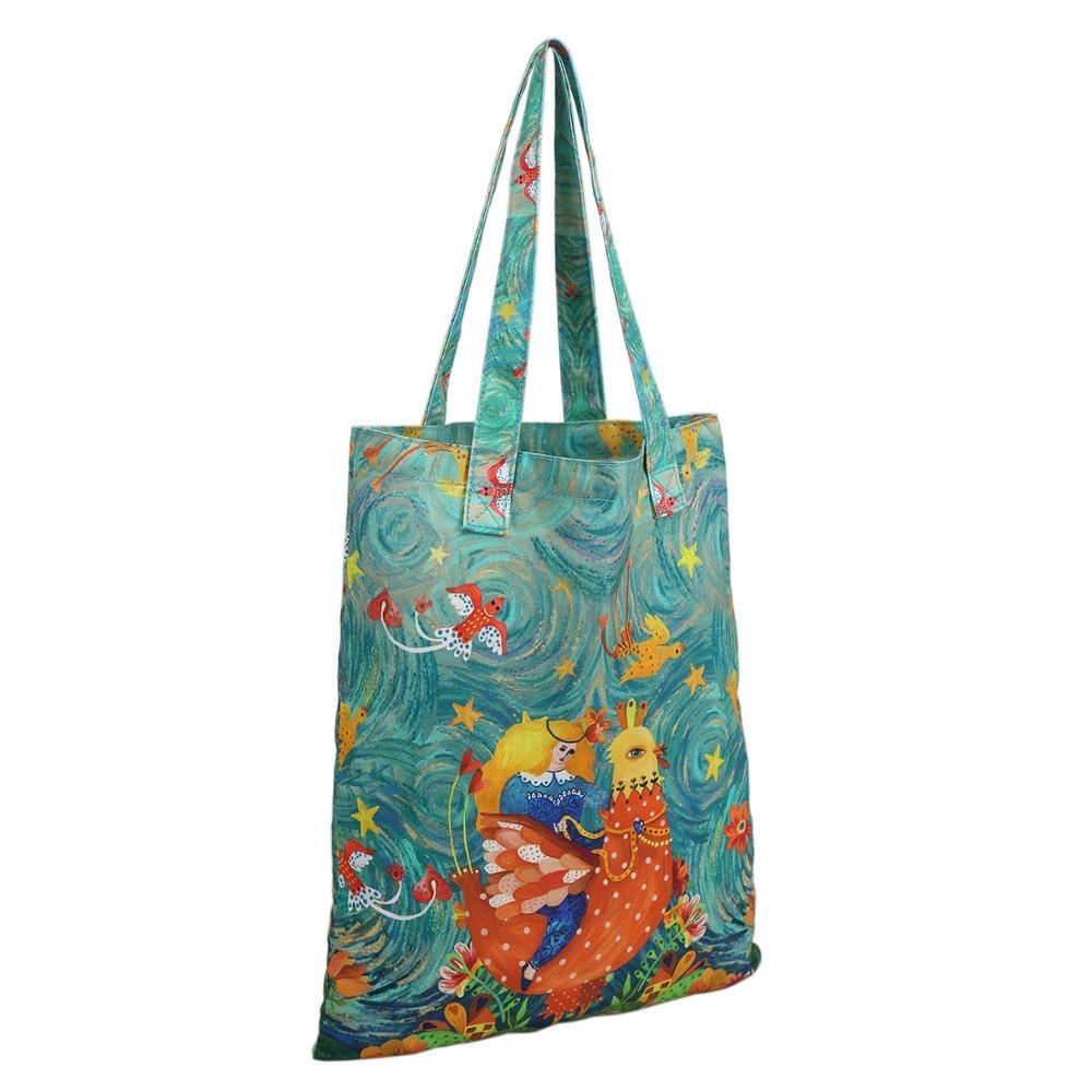 पर्यावरण के अनुकूल रंगीन मुद्रण अनुकूलित कपास कैनवास ढोना शॉपिंग बैग