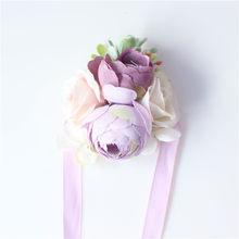 Бутоньерка на запястье из высококачественного шелка, искусственная Роза, брошь подружки невесты, аксессуар для платья, свадебные вечерние ...(Китай)