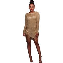 Золотое металлическое вязаное платье-свитер с прорезями, популярное стрейчевое сексуальное платье с вырезами и металлическими блестками, ...(Китай)