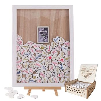 Drop Top Wedding Guest Book Wooden Picture Frame Drop Top Frame Sign Book with 100PCS Wooden Hearts