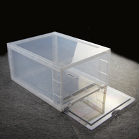 Free sample hot selling clear plastic large drop front shoe box
