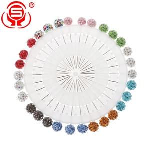 30 Pieces Hijab Straight Head Pins Colorful Hijab Scarf Fancy Rhinestone Ball Brooch Pins
