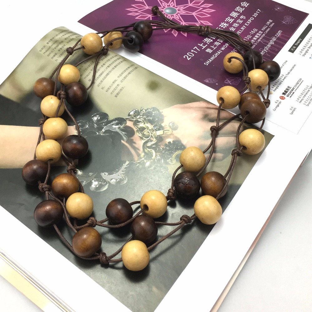 HANSIDON Different Styles Bohemian Beach Jewelry Handmade African Wood Necklaces Beads Statement Accessories For Women Gift
