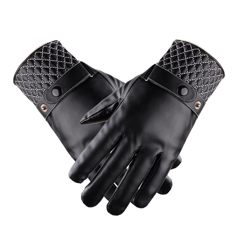 New style PU warm gloves men and women warm gloves winter touch screen leather gloves