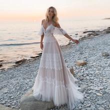 Богемные пляжные свадебные платья в стиле бохо на тонких бретельках, открытые Свадебные платья цвета шампанского с открытыми плечами, vestidos ...(China)