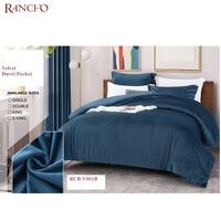 Rancho wholesale OKOTEX Queen Size Velvet fabric thick Duvet Pocket and quilt Cover Set