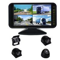 Bus Coach 9 inch Lcd Monitor 360 degree Truck 24V Monitoring Front / Side / Rear View 4 Cameras Recorder AHD Car Security System