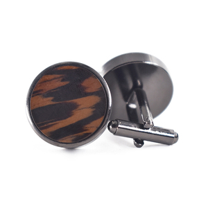high quality round black wood cuffs for men