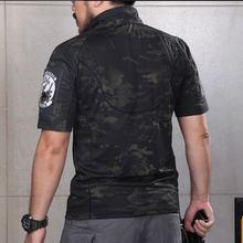 Открытый Летний стоячий воротник боевой короткий рукав тактическая футболка для мужчин-(полиция черный камуфляж) XXL(Китай)