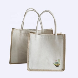 High quality natural color custom printed canvas tote bags with cotton handle jute tote bags reusable shopping bag