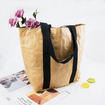 Custom Durable Waterproof Reusable Washable Brown Tote Paper Tyvek Shopping Bag