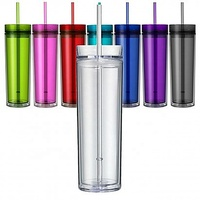 2020 Promotion Colorful plastic double wall drinkware with straw and lid 16oz acrylic water bottle skinny tumbler
