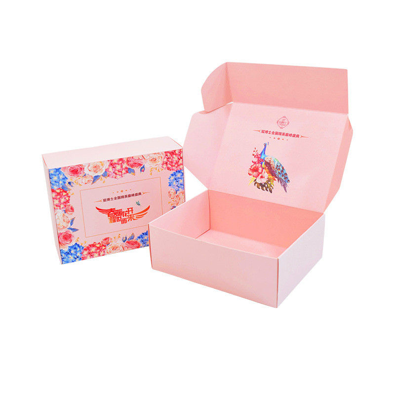 Wholesale Portable Folding Corrugated Cardboard Shipping Make Up Box Pink Packaging Carton Box