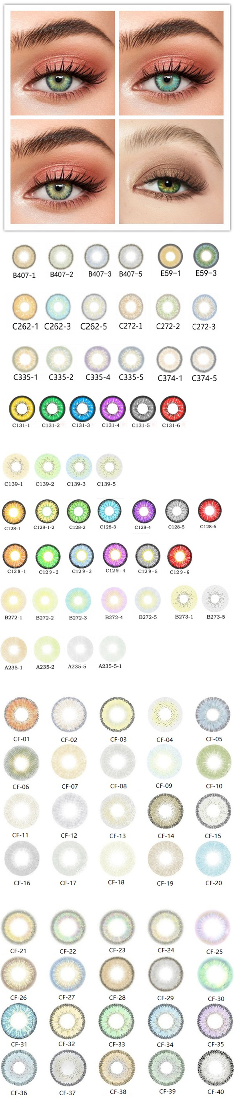 Lentilles de contact personnalisées, accessoires de fabrication chinoise, verres de couleur douce, couleur verte, 100 pièces