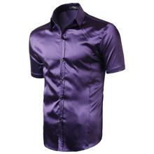 Стильная черная атласная рубашка Для мужчин 2020 летние шорты рукавом шелк, как мужская одежда рубашки Повседневное вечерние свадебное мероп...(China)