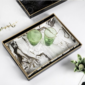 Cocostyles bespoke remarkable marbling wooden serving trays with gold edge for classical British home decor kitchen furniture