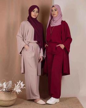 2019 new arrival hot sell daily wear plain 3-piece set for muslim women with 4 colors high soft crepe quality