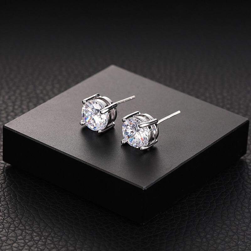 925 STERL SILVER men single stone stud CZ diamond earring styles фото