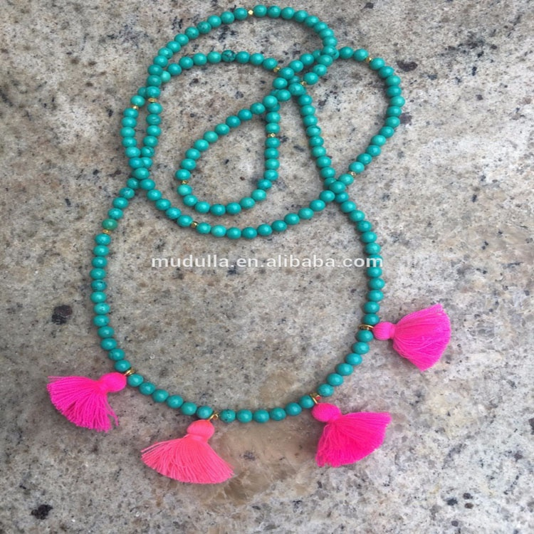 N16032805 Boho Fashion Jewelry Multi Layer Turquoise Beaded Necklace With Tassel For Women фото