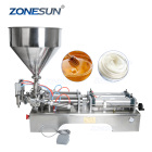 ZONESUN 10-100ML Double Heads Water Cream Shampoo Moisturizer Lotion Cosmetic Oil Honey Stick Food Paste Filling Machine
