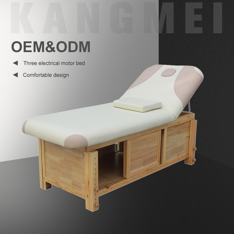 Modern Low Height Stationary Wooden Table Shiatsu Massage Bed