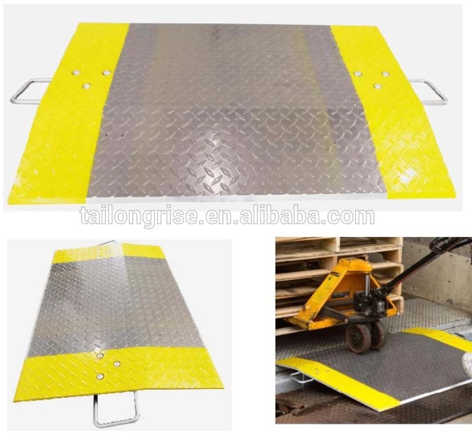 Aluminum Dock Plate, Anti-Slip Diamond Tread Loading Dock Plate with Handle
