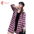 Wholesale Custom Women 100% cotton long sleeve Plaid Hooded plus size blouse shirt for fat lady