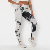 2020 whole sale High-waisted tummy control breathable elastic tie dye stacked leggings for women