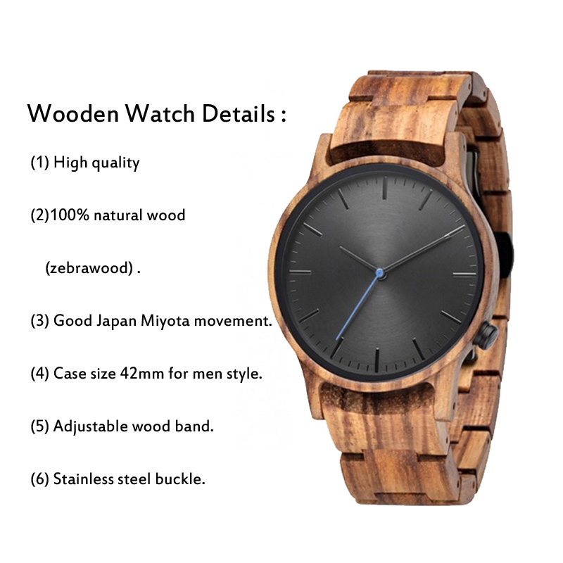 Quality luxury factory wholesale low MOQ waterproof Japan movement mens wood bamboo custom watches with private logo