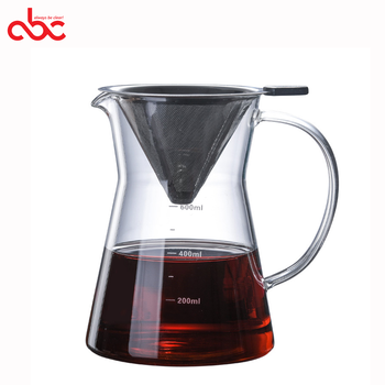 Handmade Borosilicate Glass Pour Over Coffee Maker with Filter 600ml