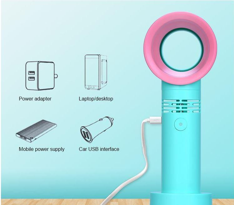 Air cooling portable electric hand fan korean style bladeless table usb rechargeable mini fan