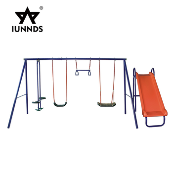 Modern playground children swing chair outdoor double swing chair with slide