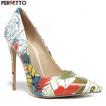 2019 Latest Fashion Closed Pointed Toe Hand-painted Floral High Heels Shoes For Women Pumps