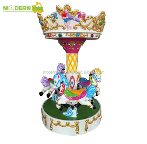 Mini manege 3 horse carousel coin operated amusement park kiddie ride