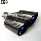 One-Stop Service [ Exhaust Tip ] Dual Carbon Fiber Stainless Steel Burnt Blue Universal Auto Akrapovic Exhaust Tip Double End Pipe For BMW BENZ VW Golf