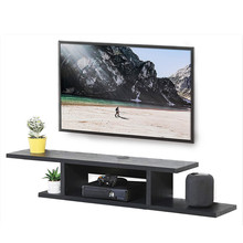 Fitueyes Drijvende Tv <span class=keywords><strong>Plank</strong></span> Wandmontage <span class=keywords><strong>Media</strong></span> Console Entertainment Opslag <span class=keywords><strong>Plank</strong></span> Moderne Tv Stand Board Rack DS211801WB (Zwart)
